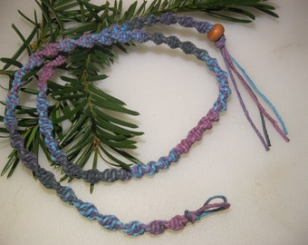 Hemp Necklace, Blue, Lavender and Turquoise Blend, Turquoise, Mens Necklace, Hemp Jewelry, Unisex Hemp Jewelry