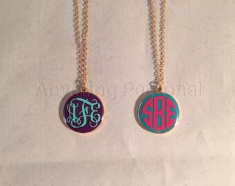 Monogrammed Enamel Necklace, Personalized Necklace, Necklace, Enamel Necklace, Personalized Jewelry, Personalized Gift, Monogram Gift, Gold