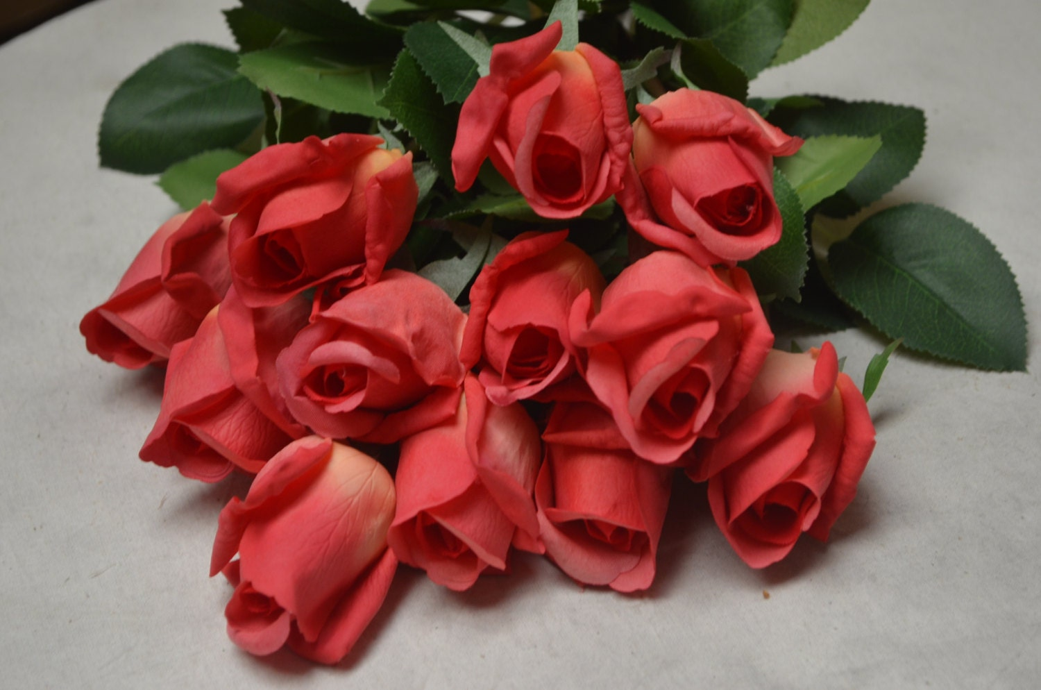 10 Real Touch Hot Pink Rose Buds Stems For Wedding Centerpieces Silk