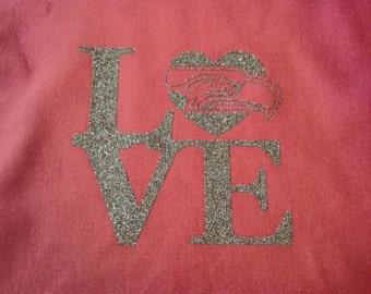 Seahawks love tote bag-Pink 6oz tote
