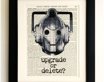 ART PRINT on old antique book page - Cyberman, Doctor Who, Vintage, Upcycled Wall Art Print, Encyclopaedia Dictionary Page, Fab Gift!
