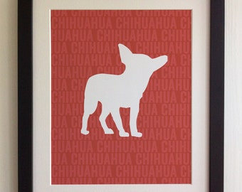 FRAMED Chihuahua Dog Print - Red, Birthday, New Home, Black or White frame, Fab Picture Gift