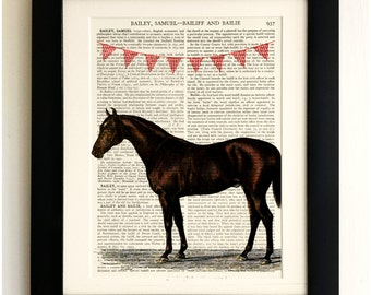 ART PRINT on old antique book page - Horse with Bunting, Vintage Wall Art Print, Encyclopaedia Dictionary Page, Fab Gift!