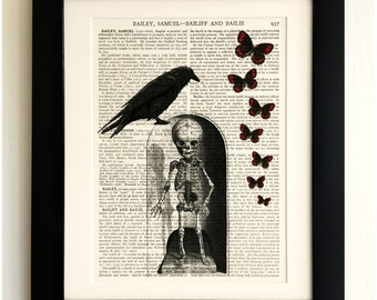ART PRINT on old antique book page - Raven & Skeleton with Butterflies, Vintage Upcycled Wall Art Print, Encyclopaedia Dictionary Page