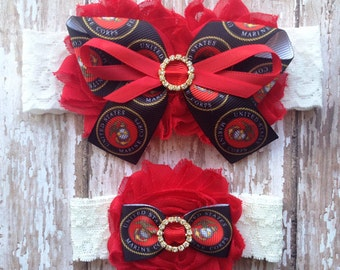Marine Corps Garter Set | Military Wedding Garters | Bridal Garter and Toss Garter