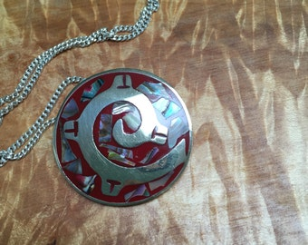 Alpaca mexico pendant/pin necklace
