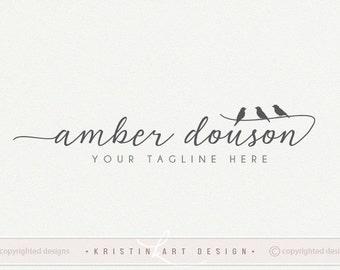 Bird logo design, Photography logo, Premede logo, Black and white, Nature logo, Watercolor 473