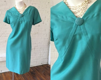 1960s Teal Mod Dress
