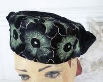 Pansies Hat 1940's Black Green Flowers Velvet . 1940's Tilt Hat. WW2 Hat  . Lindy Hop Hat . Pansies .1940's  Tilt Hat . WW2 Perching Hat .