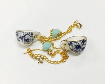 Mini ceramic tea cup earrings