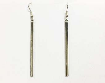 long bar earrings, silver bar earrings, simple earrings, minimalist earrings