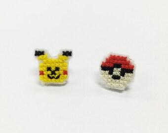 cross stitch pokemon pikachu stud earrings