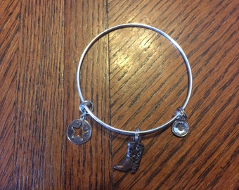 Cowgirl boot expandable bracelet