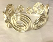 Swirls Wire Wrapped Handmade Bracelet, 12 gauge, Silver, Women's Jewelry, Ladies jewelry