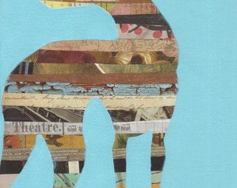9x12 framed Greyhound silhouette collage