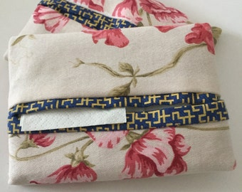 Pink Floral Travel tissue cover, handbag accessory