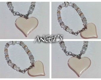 bracelet with Swarovski crystals and white heart