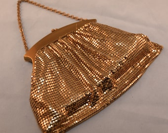 WHITING & DAVIS 1960's Vintage Gold Enable Mesh Purse #2874 Made in USA