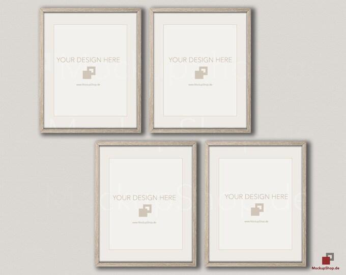 Wood MOCKUP FRAME 24x30 / Set of 4 Frames  / vertical Frame / beige wall / Old Vintage Frame Mockup / Vintage nordic style / Empty Mockup