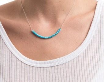 Turquoise Necklace/Genuine Turquoise Gemstone Necklace/Turquoise Stone Bar Necklace/Turquoise  row necklace/December birthstone