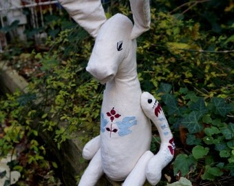 Textile Art_ Rabbit with  embroidery