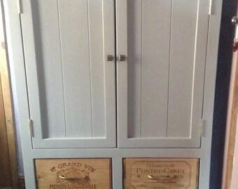 Handmade wine crate cupboard