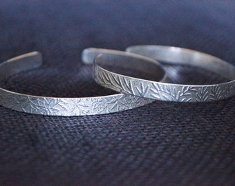 Sterling Silver Cuff Bangle - Sterling Silver Cuff Bracelet - Handmade Sterling Silver Jewelry - Chunky bangle - Embossed Cuff Bracelet