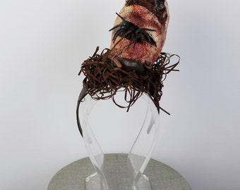 Vivianne Voodoo Headdress- Spiders-Skull-Worms- Halloween Headband-Art Headpiece
