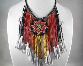 LEATHER FRINGE NECKLACE and Earrings