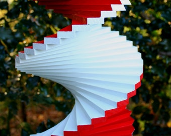 Red & White Christmas candy cane colors wood wooden floating twister spinner porch patio garden yard spiral spin wheel