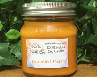 Natural Soy Candle BRANDIED PEAR - 8 oz Mason Jar - Highly Scented - Homemade Candle - Fall Candle