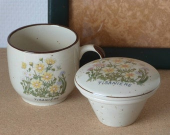 Ceramic herbal cup - Made in France in the 70's - Tisanière - Infusion cup