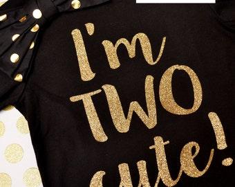 Gold I'm Two Cute Birthday Shirt