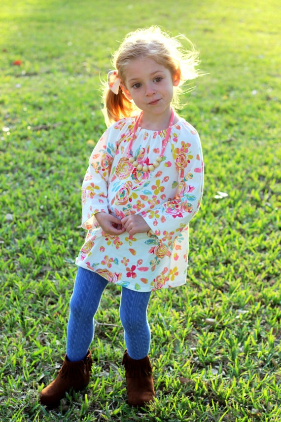 Rose Floral Long Sleeve Toddler Peasant Dress Romper with Snaps Pink White Floral Baby Romper Floral Toddler Winter Romper Dress