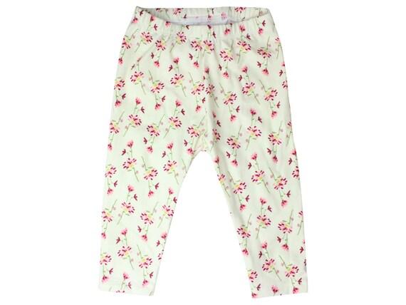 Dainty Flower Baby Leggings Cream Flower Toddler Leggings Girl Leggings Floral Leggings Girl Baby Pants Floral Floral Baby Gift Cream