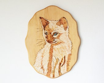 Kitsch Siamese Kitten Portrait Wood Plaque Painting Made in Wisconsin by Mathews