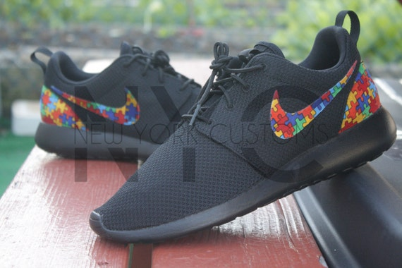 30200df4273032 30%OFF Autism Awareness Nike Roshe Run Triple Black Custom by NYCustoms