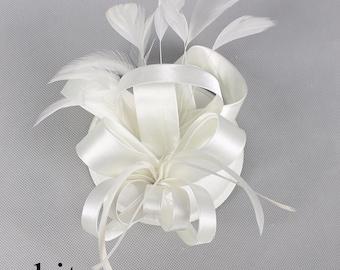 Decorative Satin Feather Fascinator
