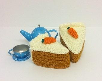 Play Food Crochet Carrot Cake Slice, Gift, Amigurumi