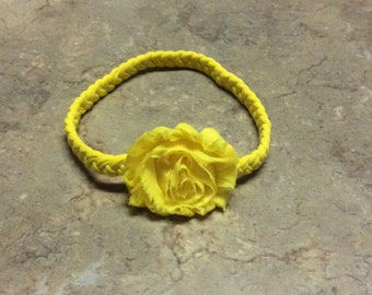 Braided Headband with Chiffon Flower, Jersey knit Stretch Headband - Choose Size and color