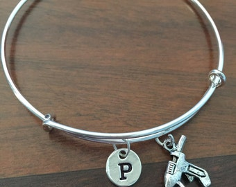 Glue Gun Initial bracelet, hot glue gun bracelet, Glue Gun jewelry, Glue Gun bracelet, craft jewelry, craft bracelet, silver bracelet