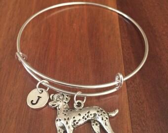 KIDS SIZE - Dalmatian initial bracelet, Dalmatian jewelry, Dalmatian bracelet, Dalmatian jewelry, dog breed bracelet, silver bracelet