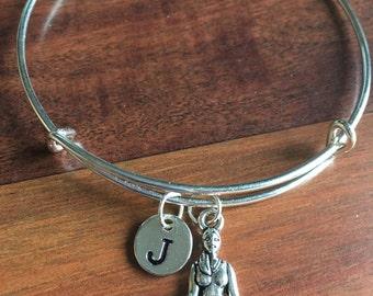 KIDS SIZE - Yoga initial bracelet,  yoga jewelry, meditation bracelet, silver yoga bracelet, Siddhas bangle, meditation jewelry