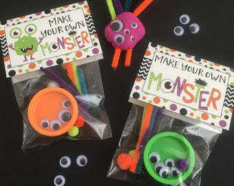 Make Your Own Monster Bag Topper For Monster Halloween Favor, Party, Trick or Treating, Craft Activity. Instant Digital Download