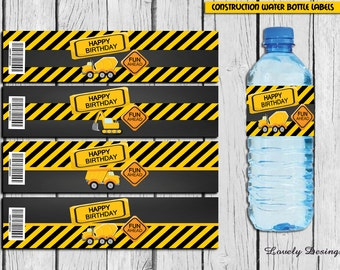 Construction Bottle Label, Dump truck party supplies, Contruction Birthday Party, Builder Party, DIY bottle wrappers INSTANT DOWNLOAD