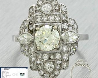 1920s Antique Art Deco Platinum 1.22ct L-M VS1 Diamond Engagement Ring