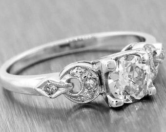1920s Antique Art Deco Platinum .65ct Old European EGL Diamond Engagement Ring