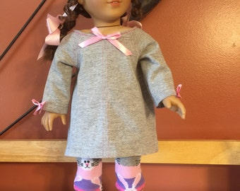 """Easter bunny leggings with hreay slouchy top for the American girl or 18"""" doll    Ready to ship!!!"""