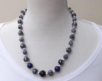 Oriental style ceramic necklace, blue necklace, summer necklace, blue ceramic necklace