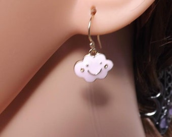 smiley earrings, cloud earrings,  and goldfill fishhook ear wires